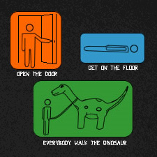 OPEN THE DOOR GET ON THE FLOOR EVERYBODY WALK THE DINOAUR